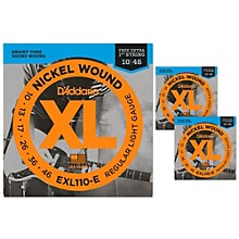 D'Addario EXL110-E Light Electric Guitar Strings 3-Pack with 3 Bonus High E Strings (10-46)