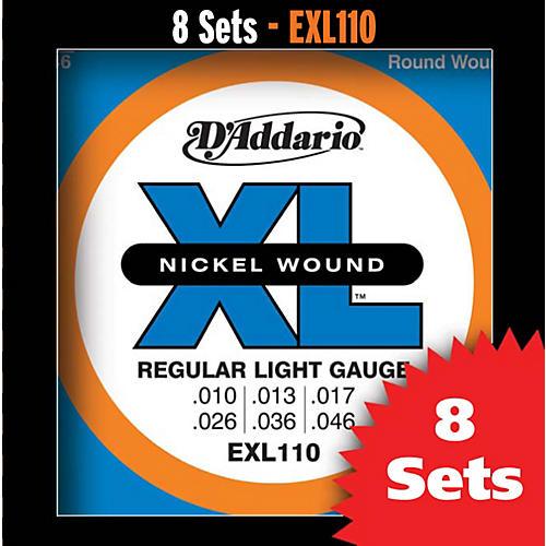 D'Addario EXL110 Light Nickel Electric Guitar Strings - 8-Pack