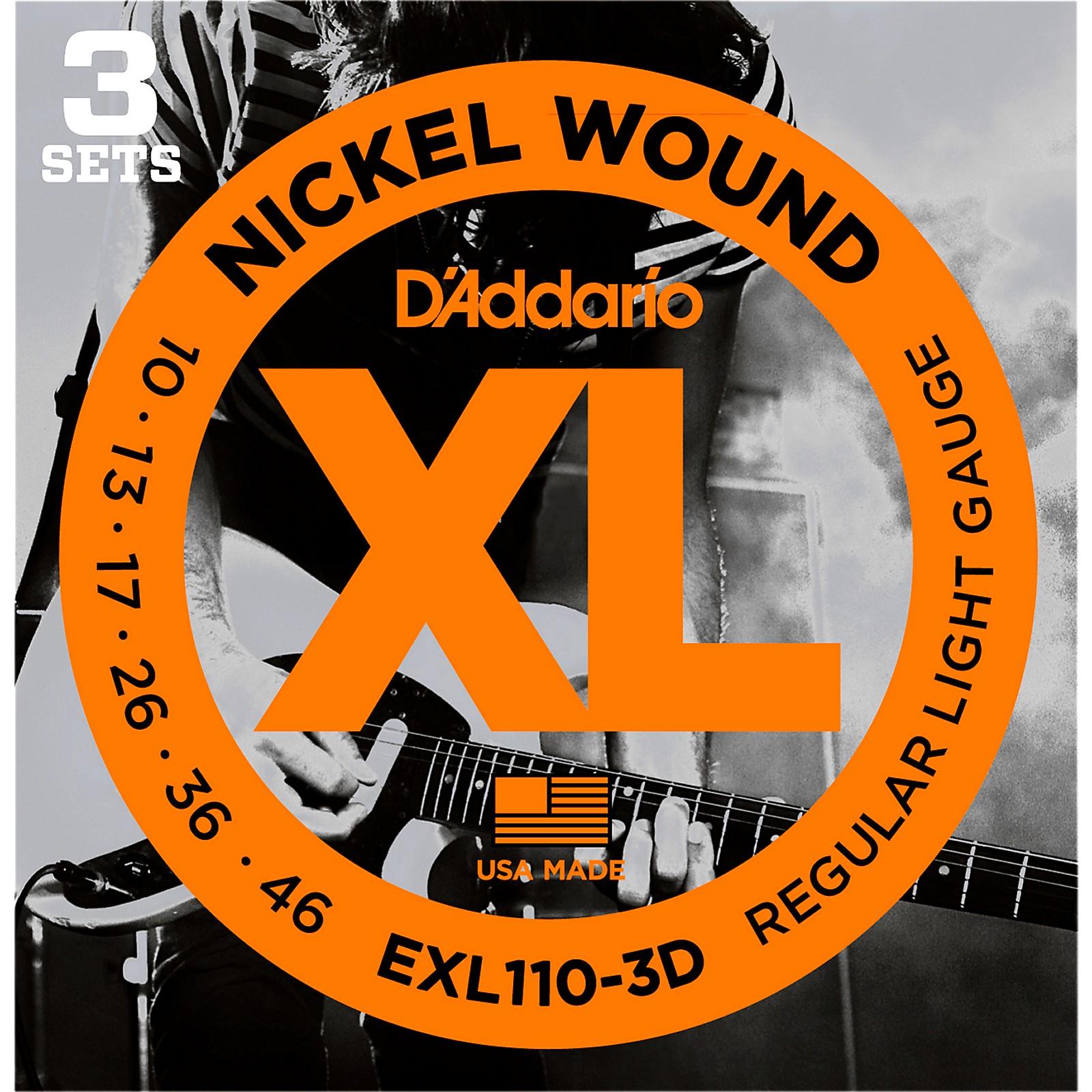 D'Addario EXL110 Nickel Light Electric Guitar Strings 3-Pack