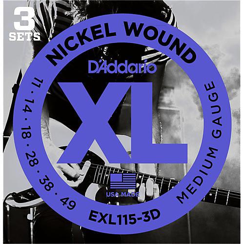 D'Addario EXL115 Medium Gauge Guitar Strings 3-Pack