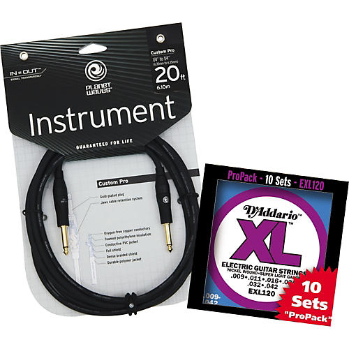 D'Addario EXL120-10P With Free 20' Custom Pro Instrument Cable