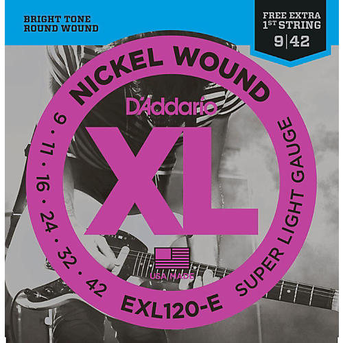 D'Addario EXL120-E Bonus Pack: Super Light Electric Guitar Strings with Bonus High E String (9-42)