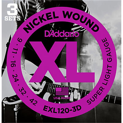 D'Addario EXL120 Nickel Super Light Electric Guitar Strings (3-Pack)