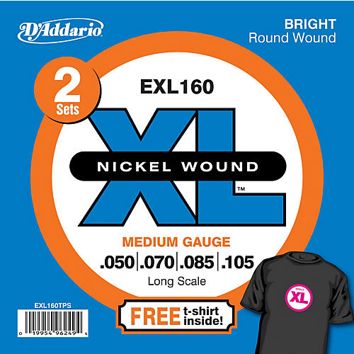D'Addario EXL160TP Twin-Pack of Bass Guitar Strings with Free T-Shirt