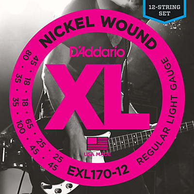 D'Addario EXL170-12 XL Light Long Scale 12-String Nickel Electric Bass Strings