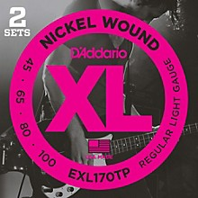 D'Addario EXL170TP Round Wound Bass Guitar Strings 2-Pack
