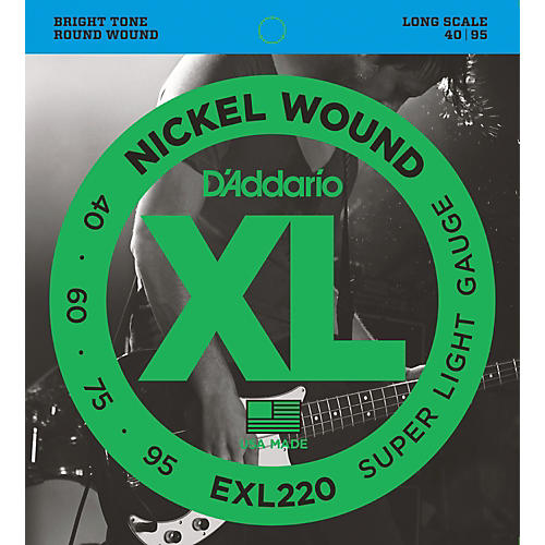 D'Addario EXL220 XL Nickel Round Wound Super Light Bright Electric Bass Strings