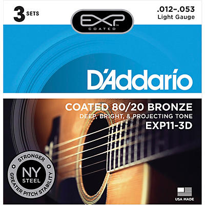 D'Addario EXP11-3D Coated 80/20 Bronze Light Acoustic Guitar Strings 3-Pack