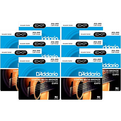 D'Addario EXP11 Coated 80/20 Bronze Light Acoustic Guitar Strings - 10 Pack
