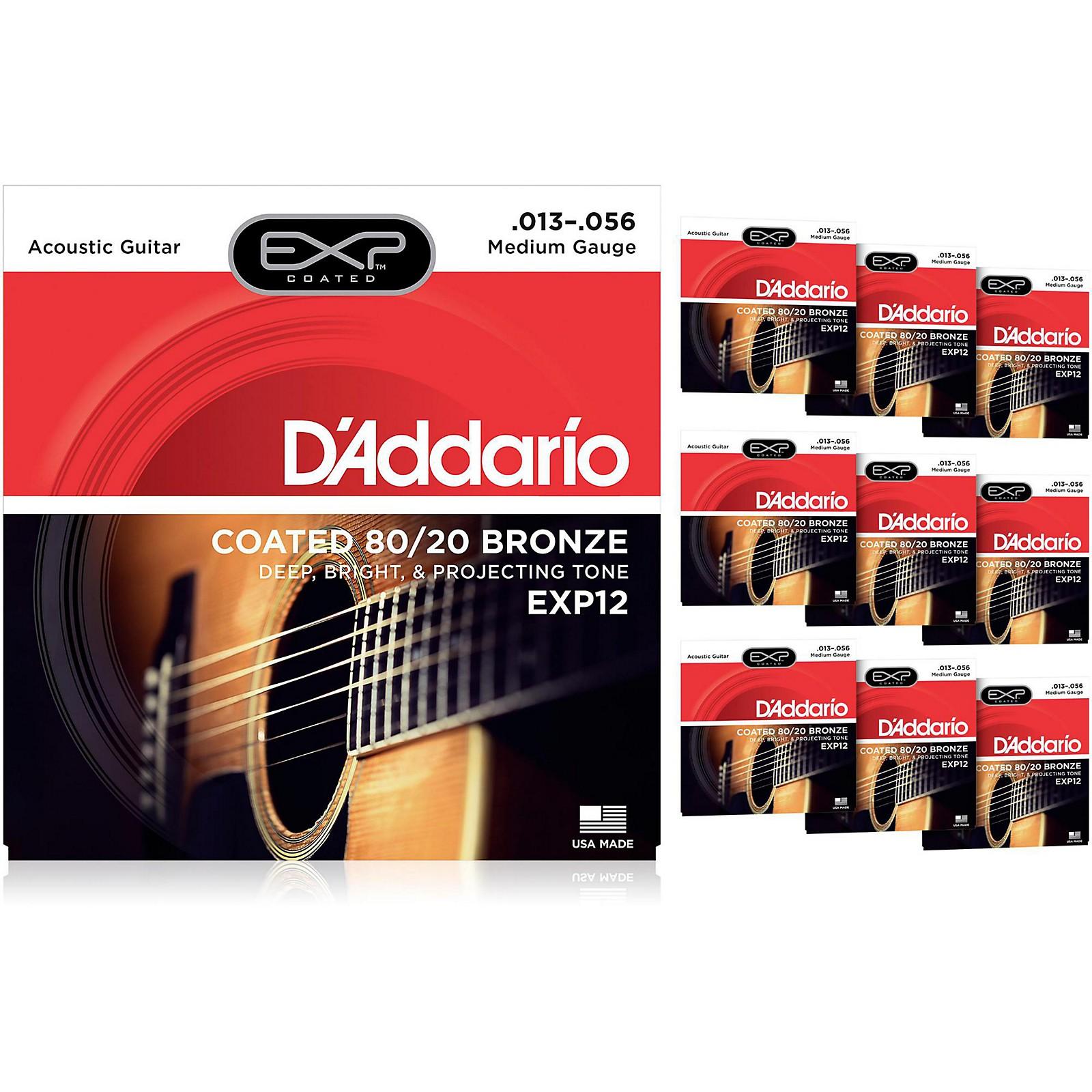 D'Addario EXP12 Coated 80/20 Bronze Medium Acoustic Guitar Strings - 10 Pack