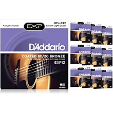 D'Addario EXP13 Coated 80/20 Bronze Custom Light Acoustic Guitar Strings - 10 Pack