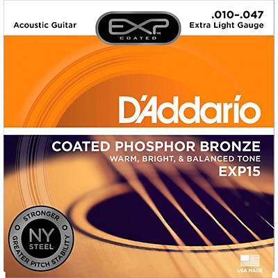 D'Addario EXP15 Coated Phosphor Bronze Extra Light Acoustic Guitar Strings