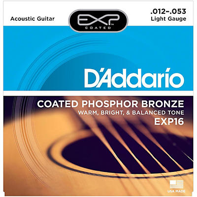 D'Addario EXP16 Coated Phosphor Bronze Light Acoustic Guitar Strings