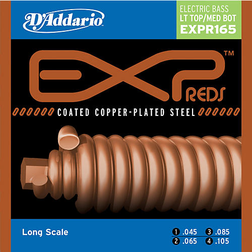 D'Addario EXPPR165 Reds Long Scale Light Top/Medium Bottom Electric Bass strings