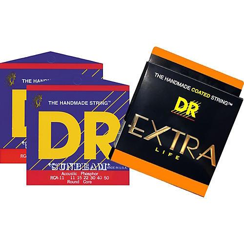 DR Strings EXTRA SUN Medium Lite Acoustic Guitar Strings 3-Pack