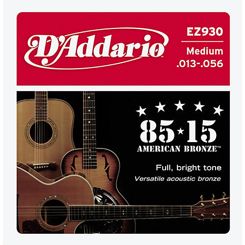 D'Addario EZ930 85/15 Bronze Medium Acoustic Strings 6-Pack with Peg Winder