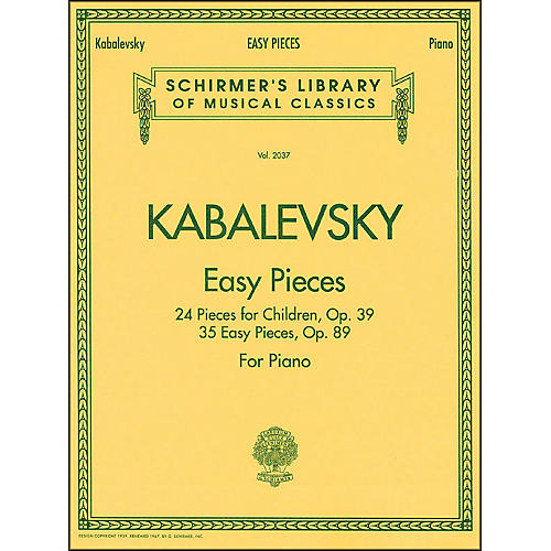G. Schirmer Easy Pieces 24 And 35 Pieces for Children Op 39 Op 89 By Kabalevsky