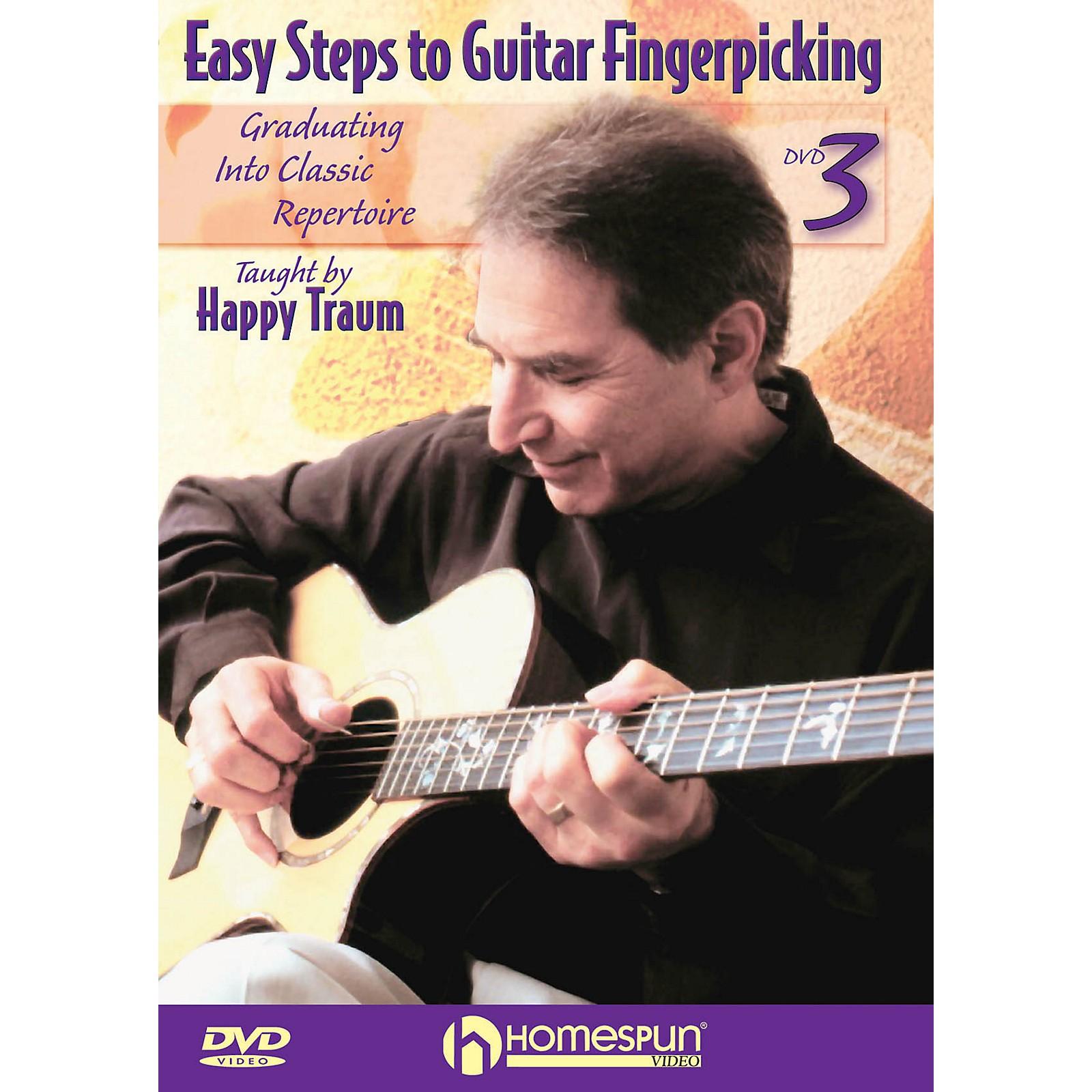 Homespun Easy Steps to Guitar Fingerpicking Instructional/Guitar/DVD Series DVD Written by Happy Traum