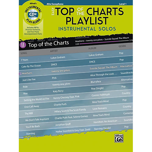 Alfred Easy Top of the Charts Playlist Instrumental Solos Alto Sax Book & CD Level 1