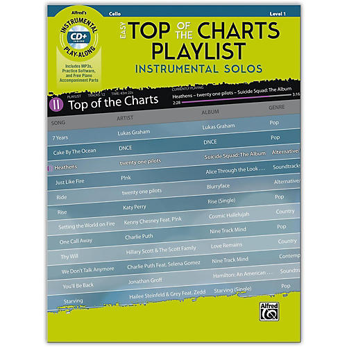 Alfred Easy Top of the Charts Playlist Instrumental Solos for Strings Cello Book & CD Level 1