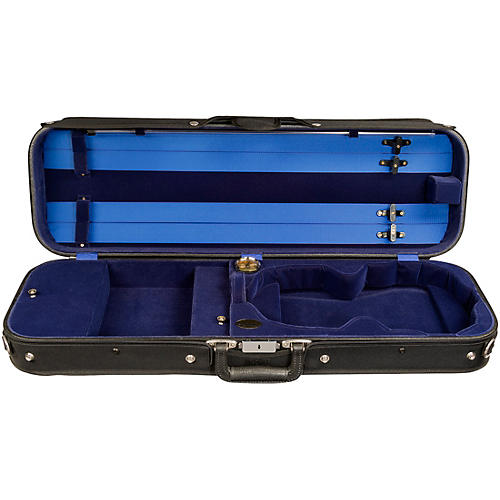 Bobelock Economy Student Oblong Suspension Violin Case 4/4 Size Black Exterior, Blue Interior