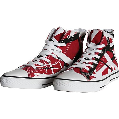 c4ebce296a6 EVH Eddie Van Halen High Top Sneakers - Red, Black, and White Striped