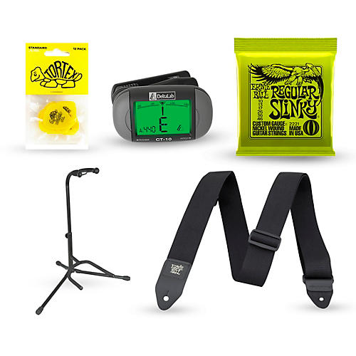 musician 39 s friend electric guitar accessory kit strings picks strap tuner stand musician. Black Bedroom Furniture Sets. Home Design Ideas