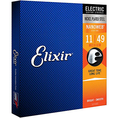 Elixir Electric Guitar Strings with NANOWEB Coating, Medium (.011-.049)