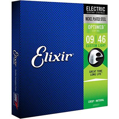 Elixir Electric Guitar Strings with OPTIWEB Coating, Custom Light (.009-.046)