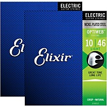 Elixir Electric Guitar Strings with OPTIWEB Coating, Light (.010-.046) - 2 Pack