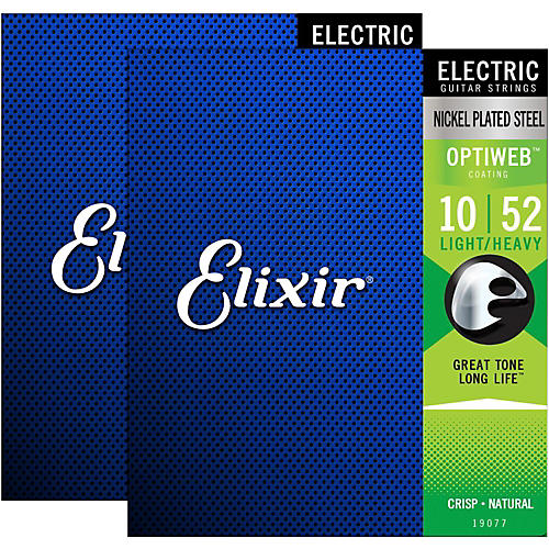 Elixir Electric Guitar Strings with OPTIWEB Coating, Light/Heavy (.010-.052) - 2 Pack