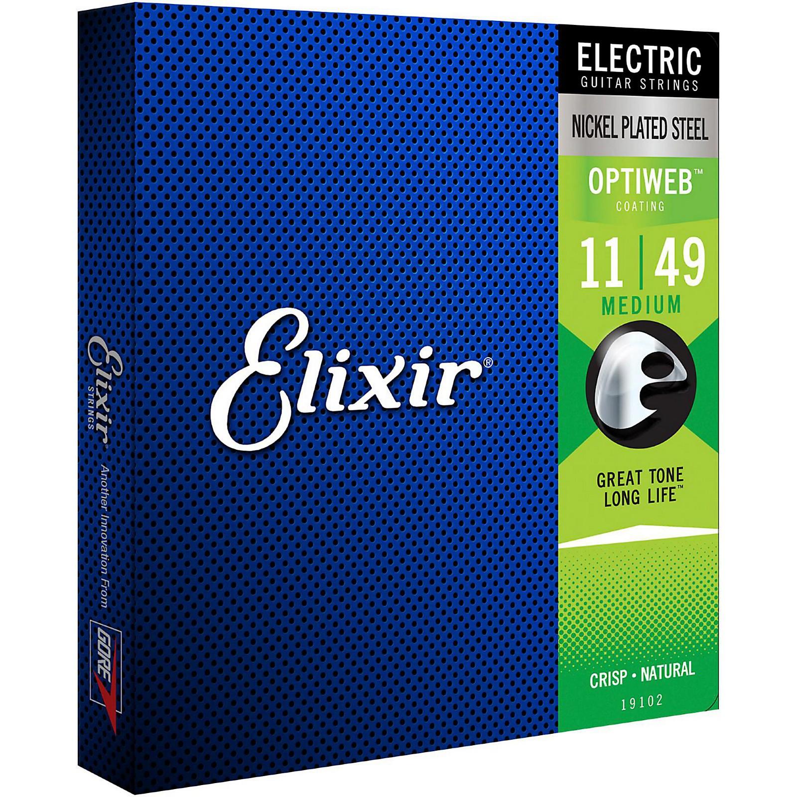 Elixir Electric Guitar Strings with OPTIWEB Coating, Medium (.011-.049)