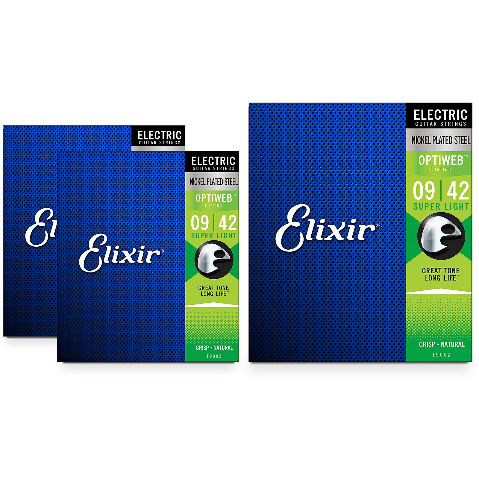 Elixir Electric Guitar Strings with OPTIWEB Coating, Super Light (09-42) 3-Pack