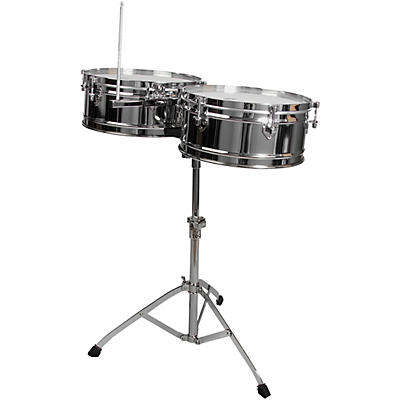 "Toca Elite Series Steel Timbales 14"" and 15"" Chrome Drums with Stand"