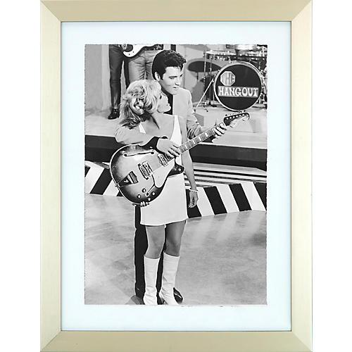 Elvis Presley Enterprises Elvis and Nancy Sinatra Speedway Black and White Framed Photo 15x20