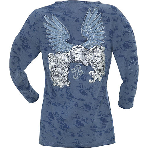 Edward Dada Embroidered Wings Women's Henley Shirt