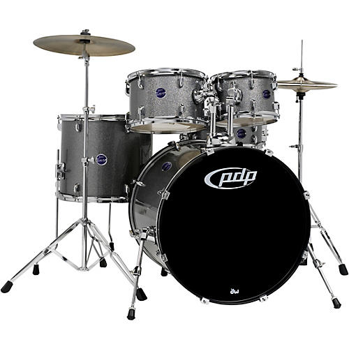 pdp by dw encore 5 piece drum kit with hardware and cymbals silver musician 39 s friend. Black Bedroom Furniture Sets. Home Design Ideas