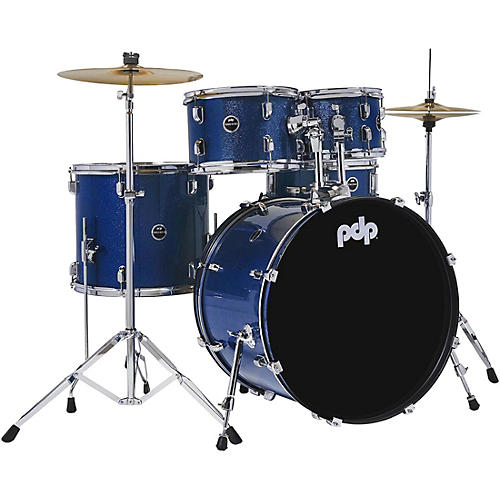 PDP by DW Encore Complete 5-Piece Drum Set With Chrome Hardware and Cymbals Royal Blue