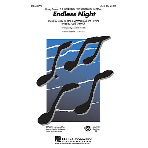 Hal Leonard Endless Night (from The Lion King: Broadway) Combo Parts Arranged by Mark Brymer