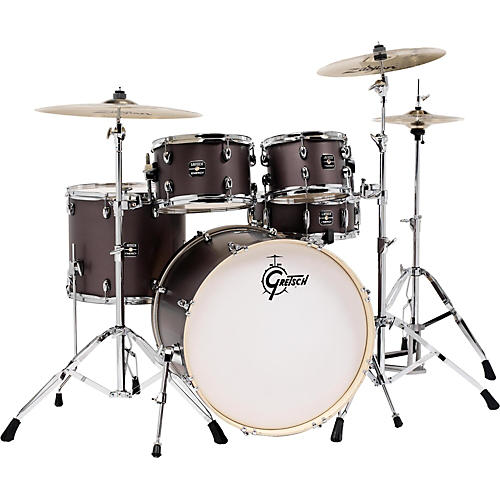 gretsch drums energy 5 piece drum set brushed grey with hardware and zildjian cymbals musician. Black Bedroom Furniture Sets. Home Design Ideas