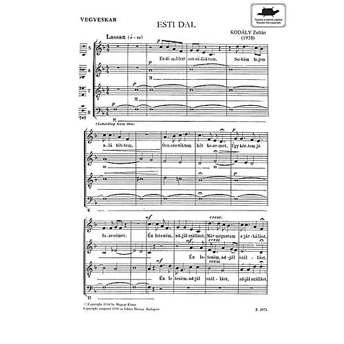 Editio Musica Budapest Evening Song Satb Esti Dal (SATB Hungarian Text) Composed by Zoltán Kodály