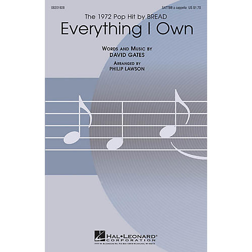 Hal Leonard Everything I Own SATTBB A Cappella by Bread arranged by Philip Lawson