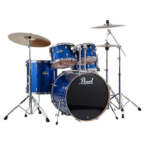 open box pearl export standard 5 piece drum set with hardware electric blue sparkle musician 39 s. Black Bedroom Furniture Sets. Home Design Ideas