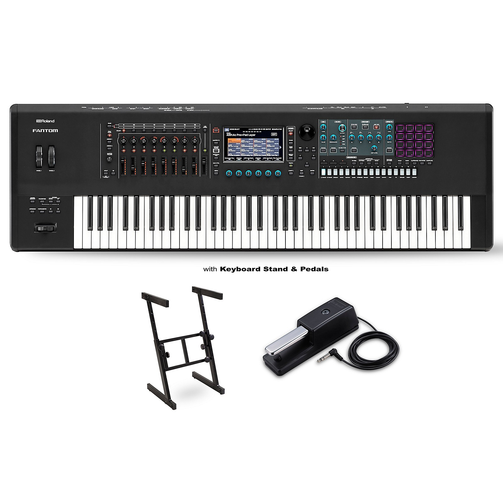 Roland FANTOM-7 Workstation With DP-2 Pedal and Z Stand