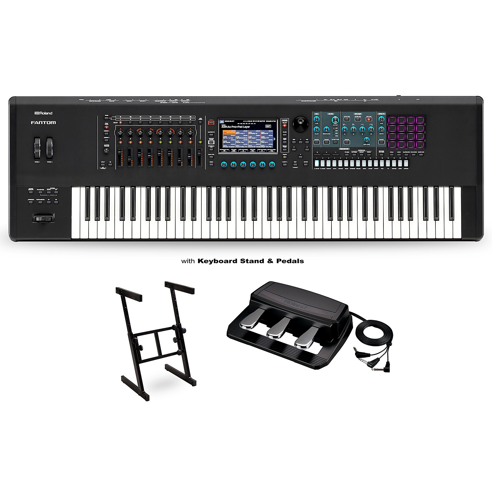 Roland FANTOM-7 Workstation with RPU-3 Pedal and Z Stand