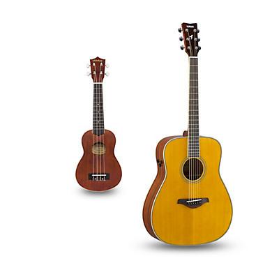 Yamaha FG-TA TransAcoustic Dreadnought Acoustic-Electric Guitar and Ukulele Package