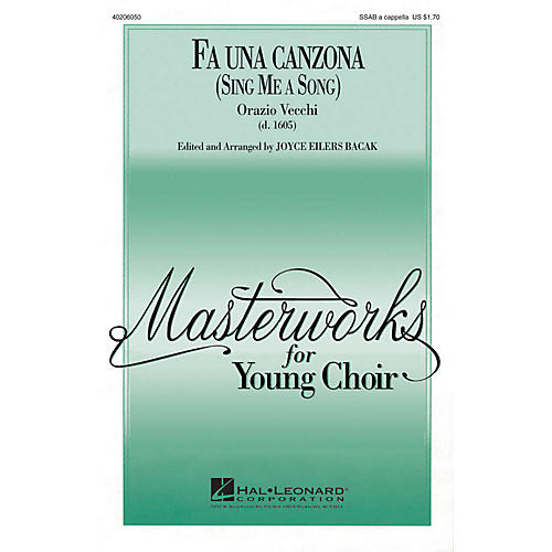 Hal Leonard Fa Una Canzona SSAB arranged by Joyce Eilers