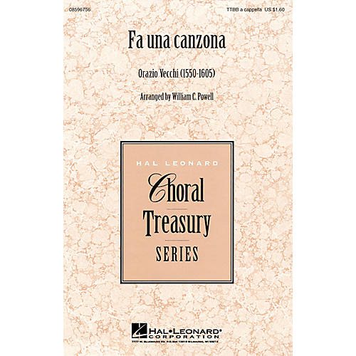 Hal Leonard Fa Una Canzona TTBB A Cappella arranged by William Powell