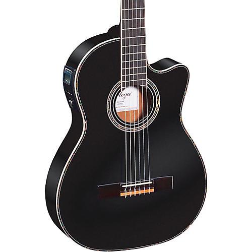 Ortega Family Series Pro RCE145BK Thinline Acoustic-Electric Nylon Guitar Gloss Black