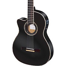Ortega Family Series Pro RCE145LBK Thinline Acoustic-Electric Left-Handed Nylon Guitar